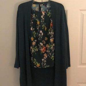 Green Blouse & Sweater Set